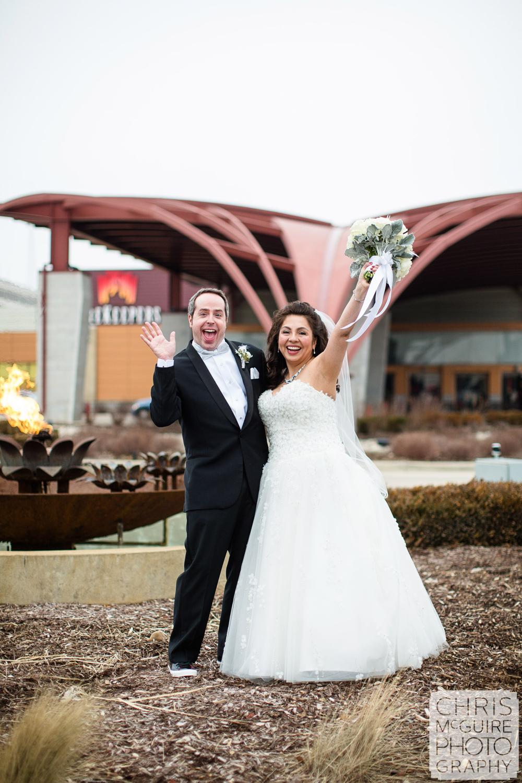 bride groom laughing at firekeepers casino