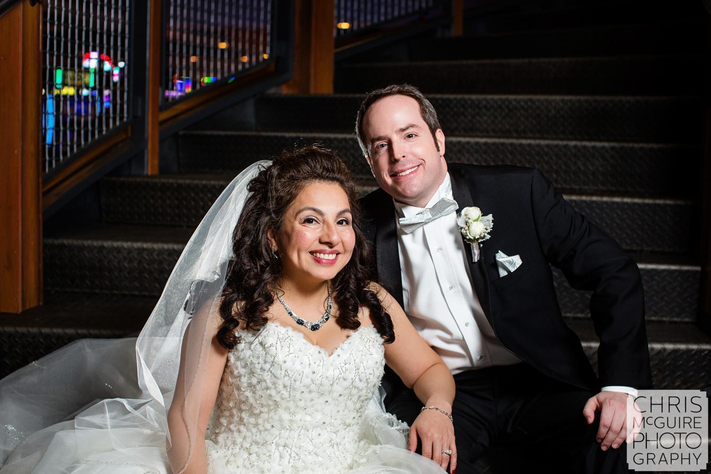 bride groom on steps