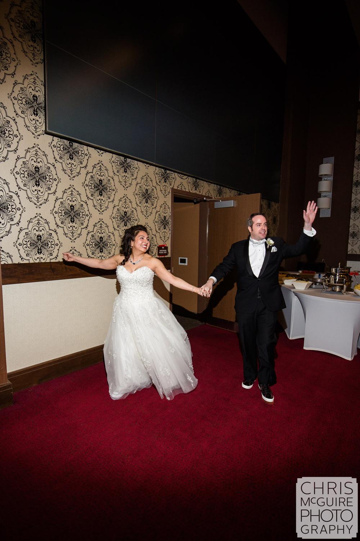bride groom grand entrance at ballroom reception