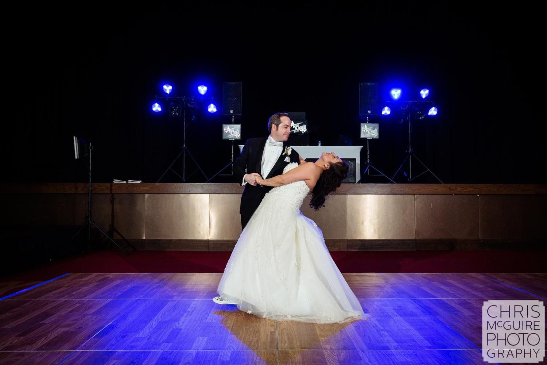 bride groom first dance winter ballroom wedding