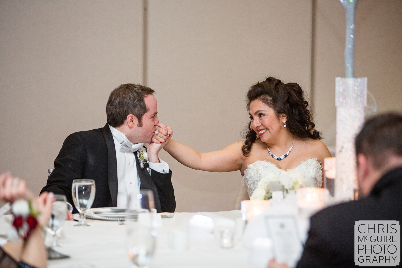 bride groom at reception table