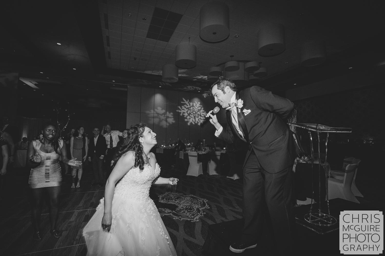 groom sings to bride karaoke wedding