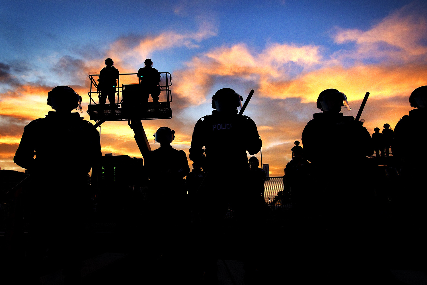 swat team against sunset editorial photography central illinois
