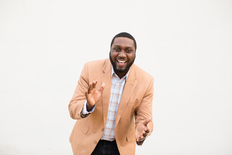 man laughing commercial portrait