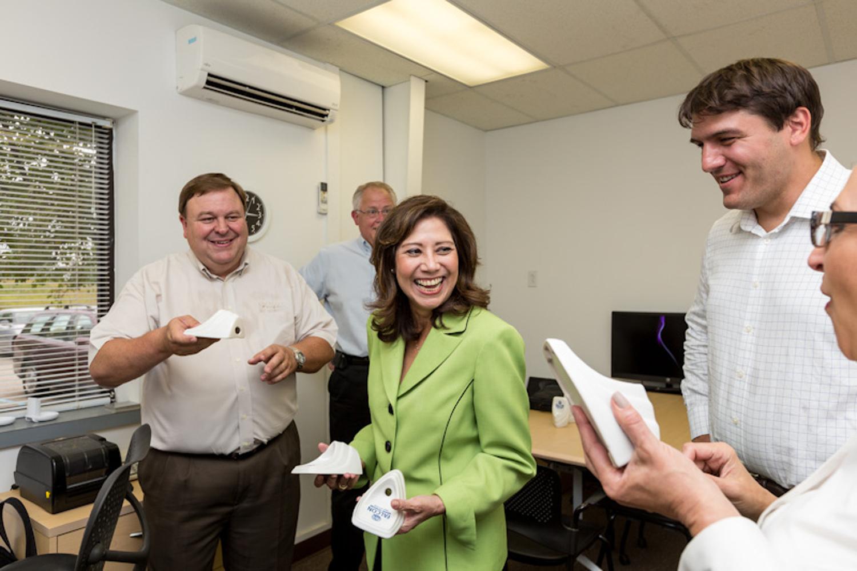 US secretary of labor hilda solis tours urinal factory
