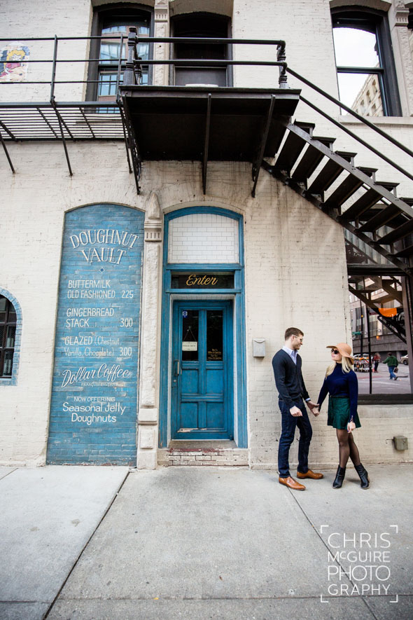 engagement couple at doughnut vault in chicago