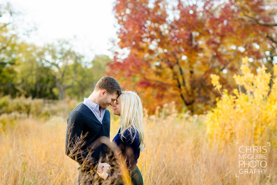engaged couple in tall grass fall colors