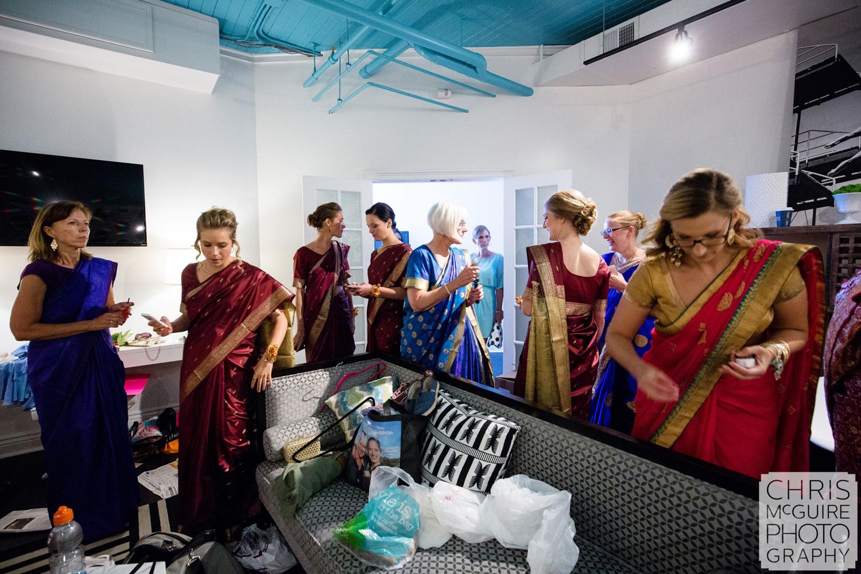 bridesmaids getting ready sari