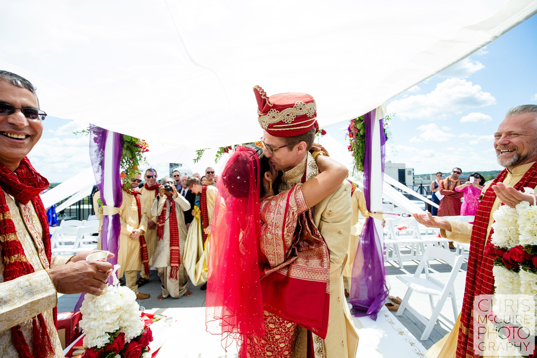 bride groom first look at wedding ceremony