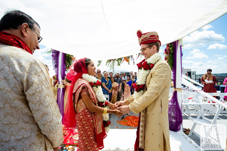 bride groom smiling at indian wedding