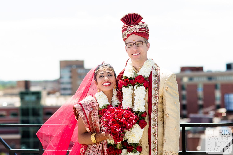 indian bride groom outdoor portrait