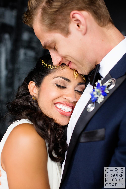 bride smiling with groom fun portrait