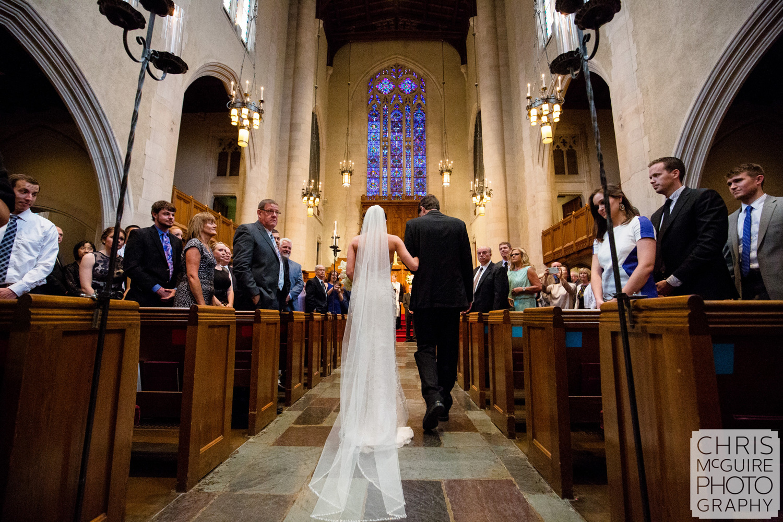 bride walking down aisle veil