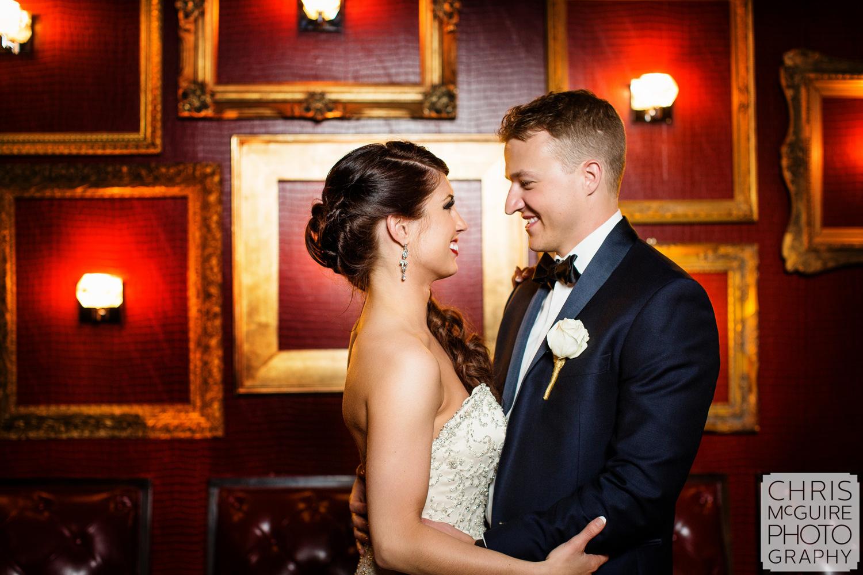 bride groom red wall gatsby bar