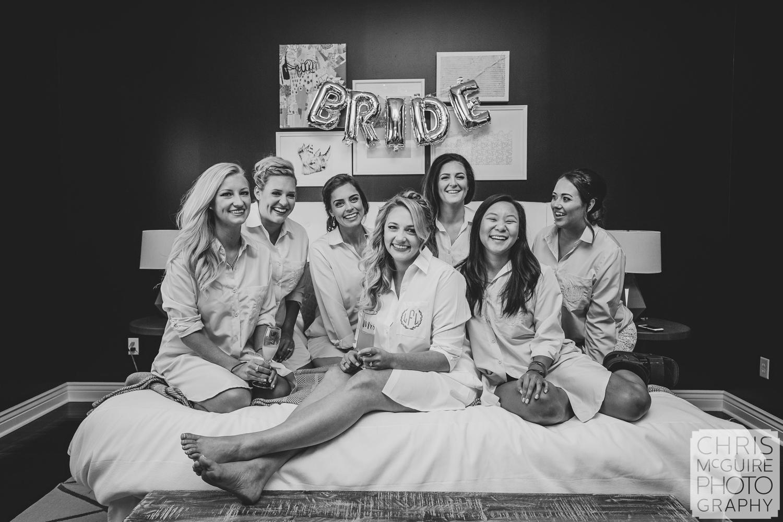bride with bridesmaids before peoria wedding