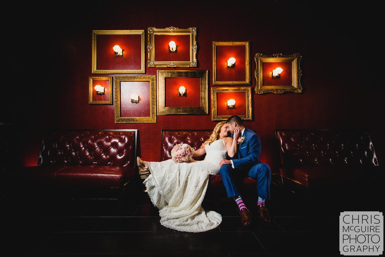 bride groom portrait in gatsby bar