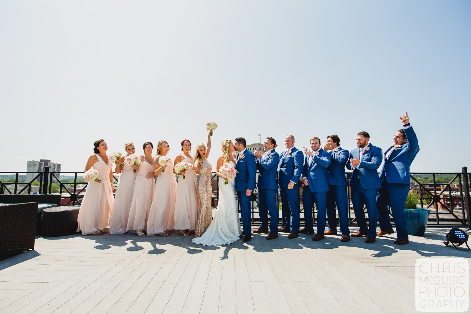 wedding party on rooftop skydeck