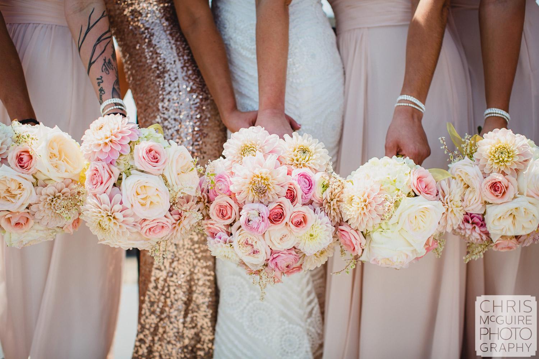 bride bridesmaids with bouquets