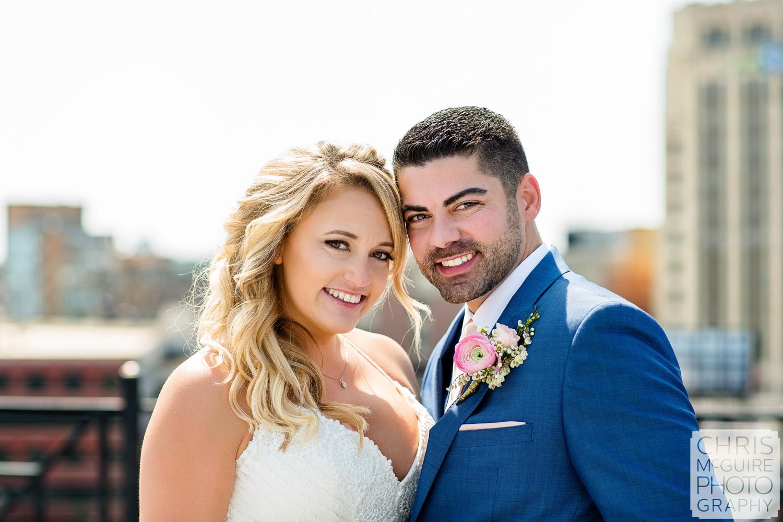 bride and groom wedding headshot
