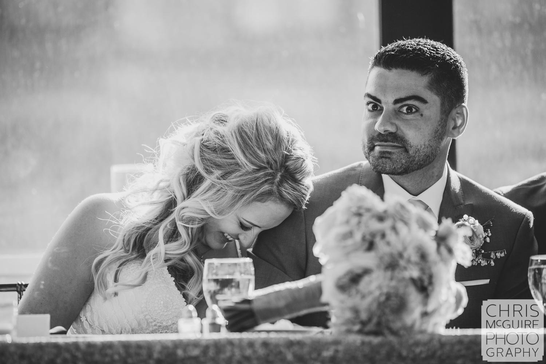 bride groom react during toast