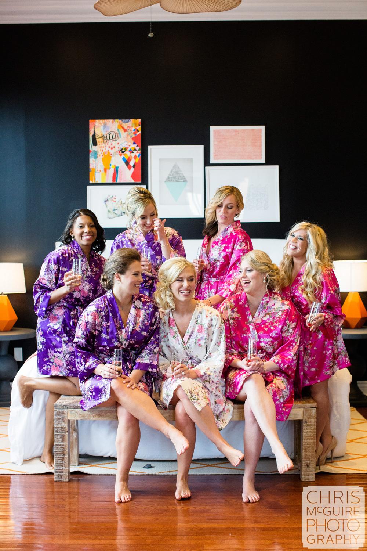bride bridesmaids in robes