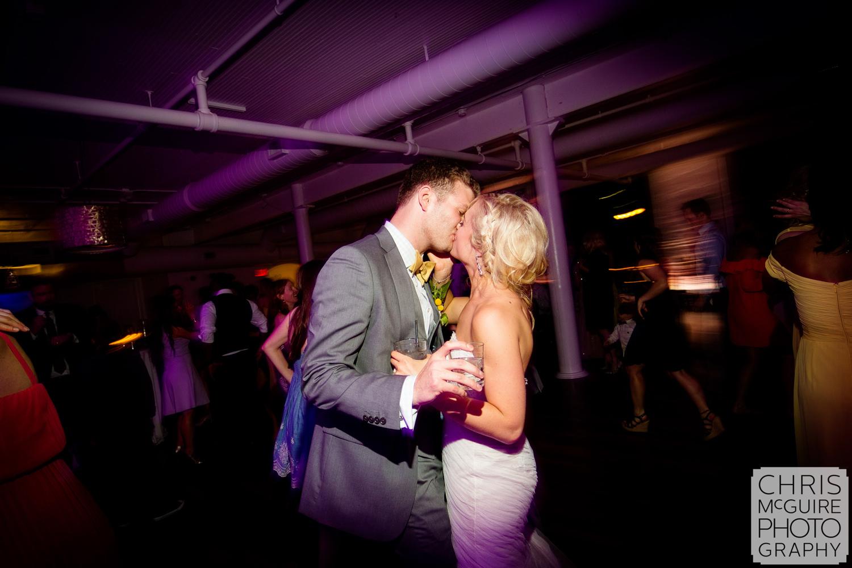 bride groom kiss on dancefloor