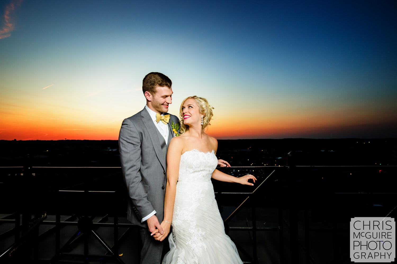 bride groom sunset portrait