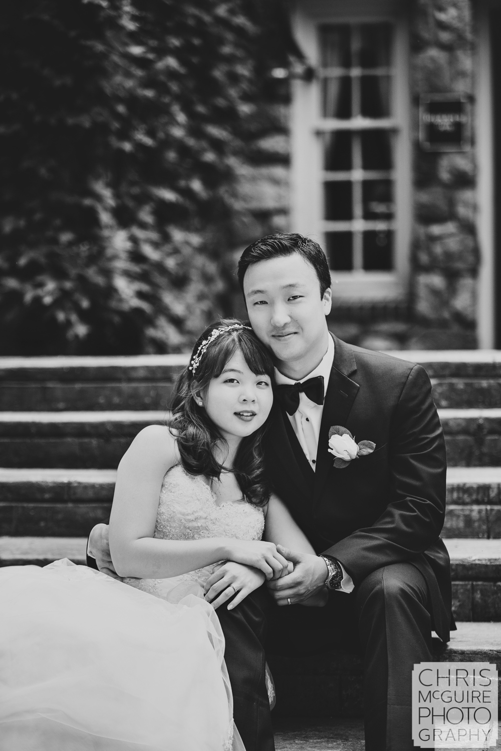 bride groom portrait in black and white