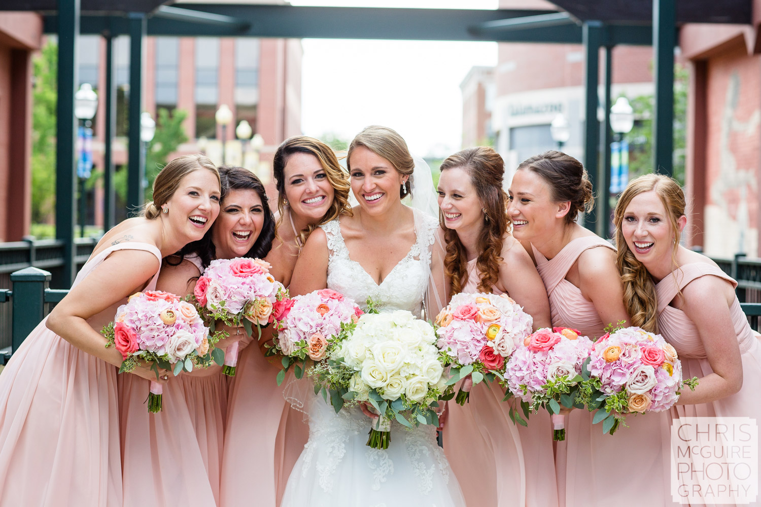 bride and bridesmaids with bouquets peoria illinois