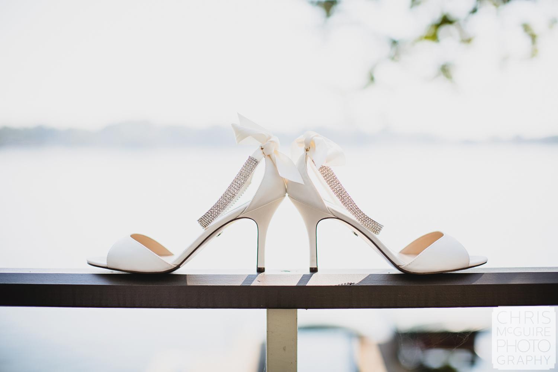 bridal shoes by lake