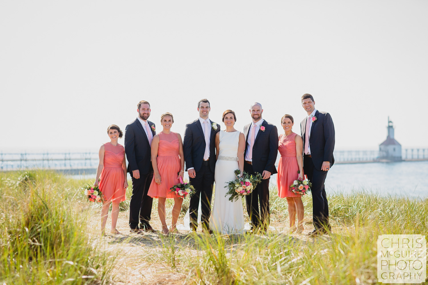 wedding party by lighthouse