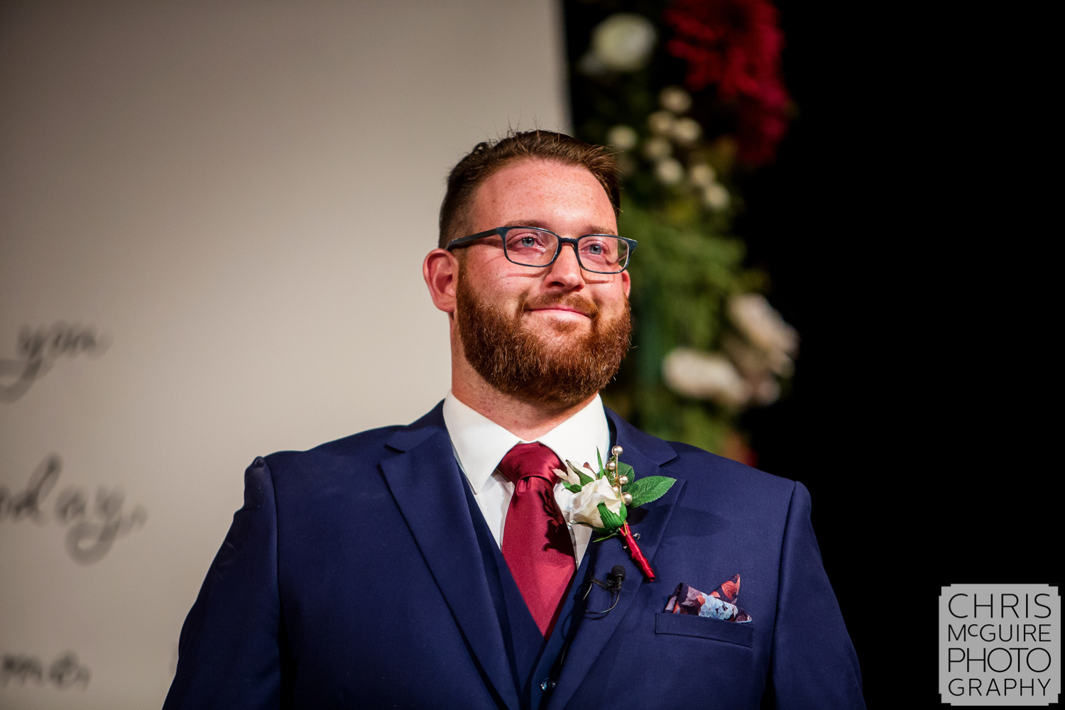 groom crying as he sees bride for first time