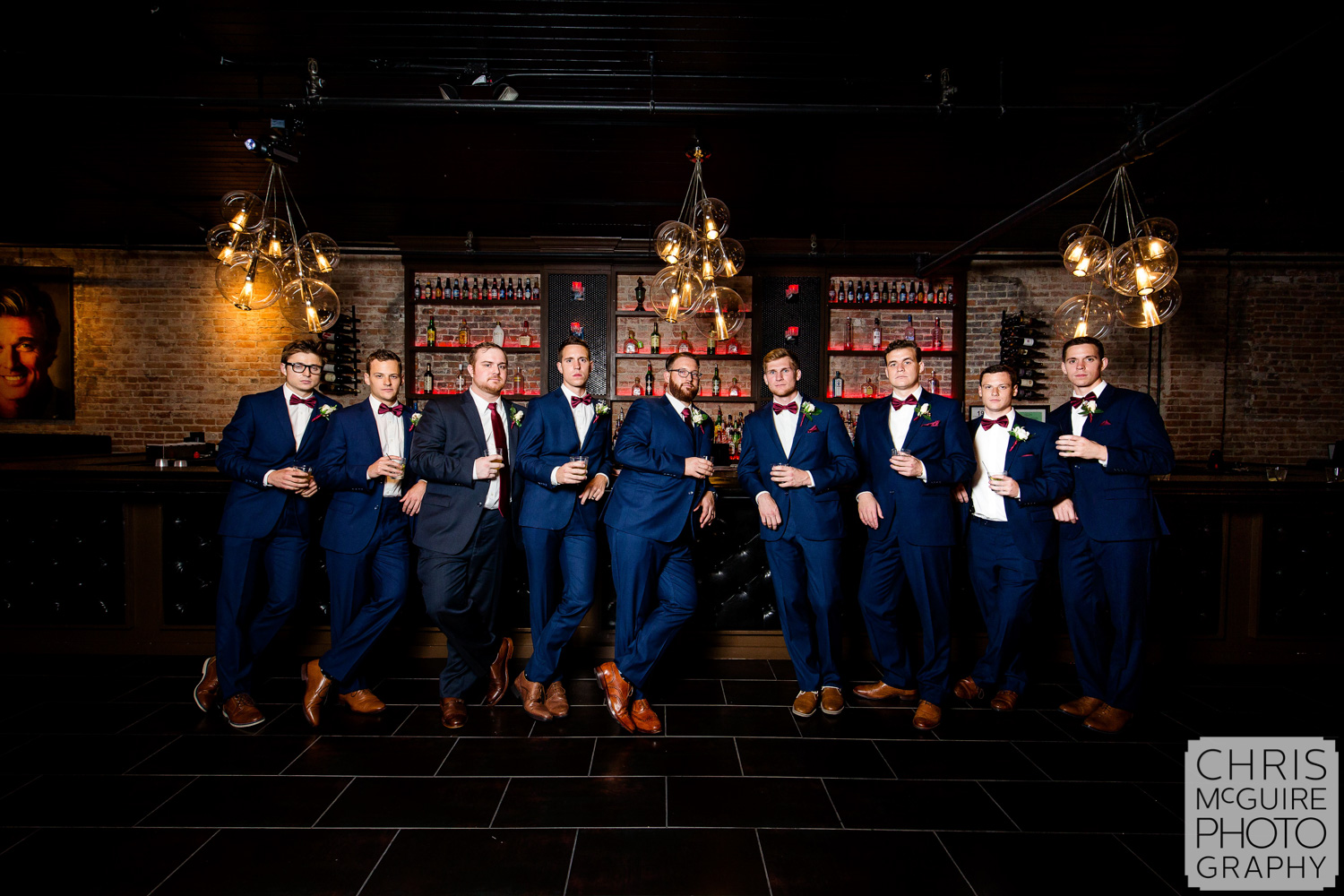 grooms party in bar