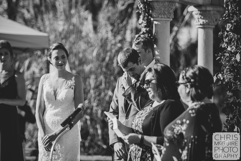 groom cries during wedding