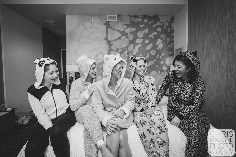 bride and bridesmaids in animal pajamas