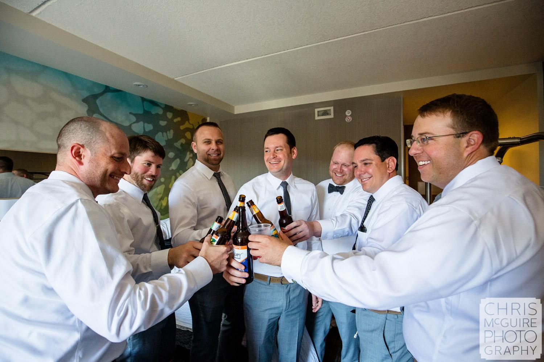 groomsmen toast groom getting ready