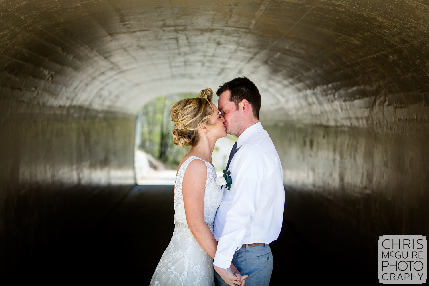 couple kiss in tunnel first look
