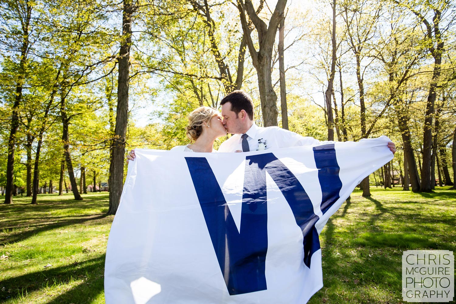 bride groom with cubs W flag
