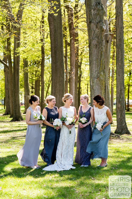 bride and bridesmaids in blue