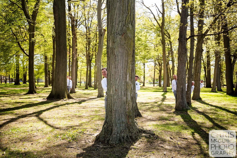 groomsmen in trees