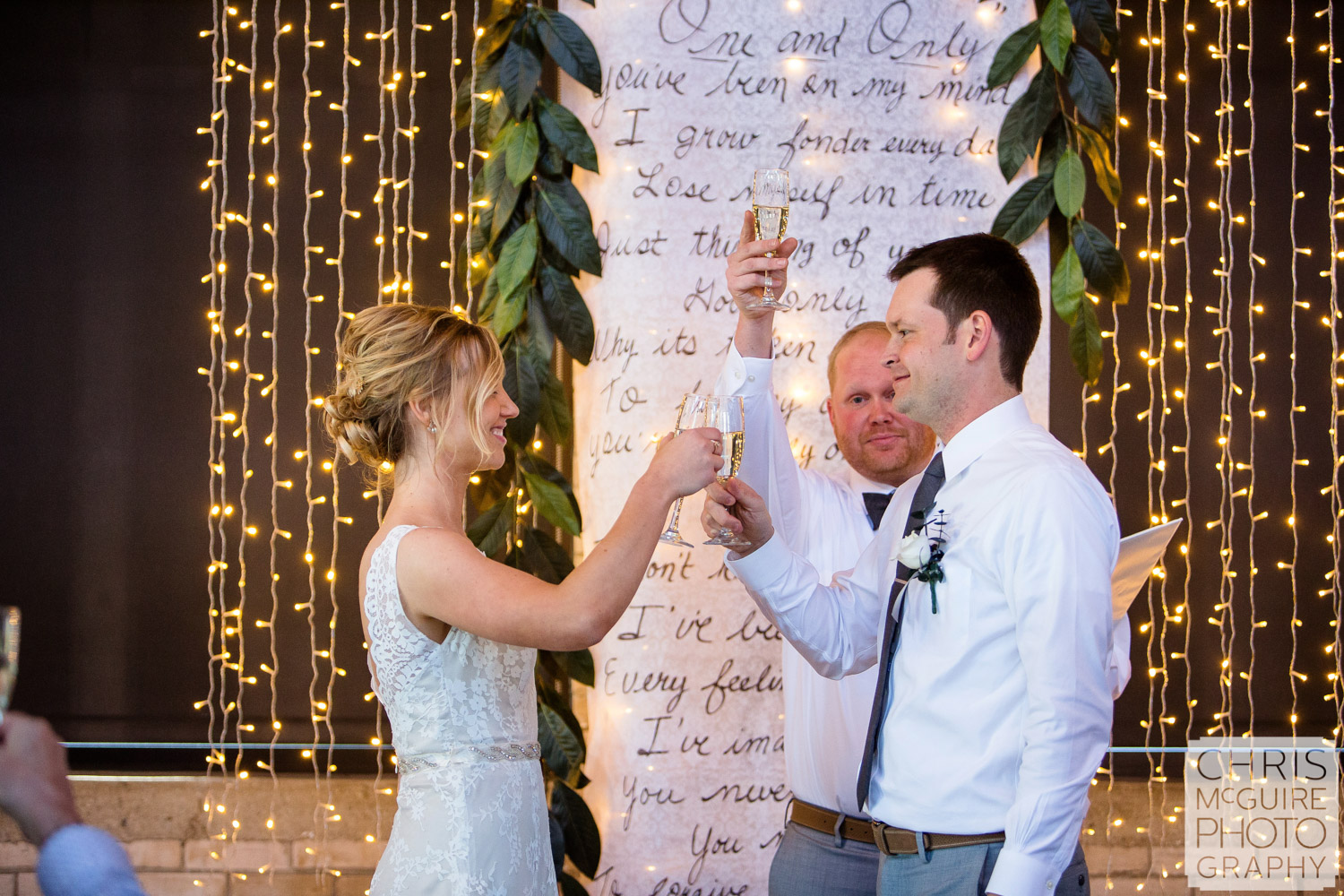 bride groom toast champaign during ceremony