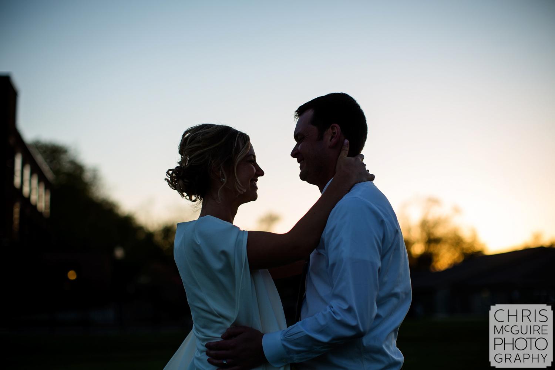 bride groom at sunset