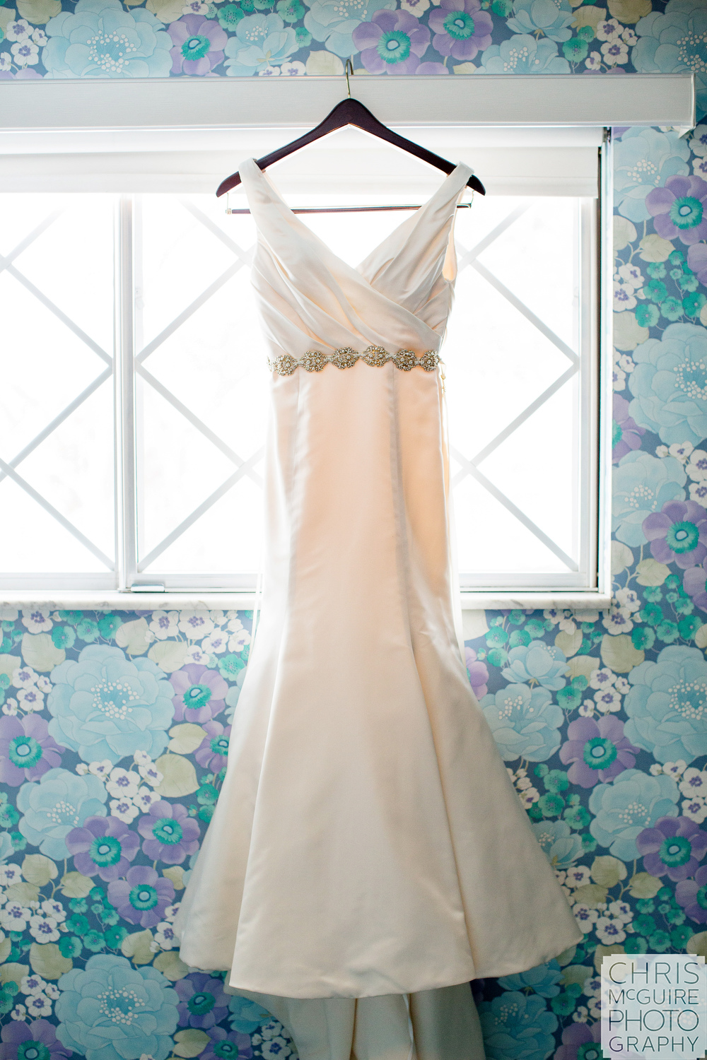 wedding dress with floral wallpaper