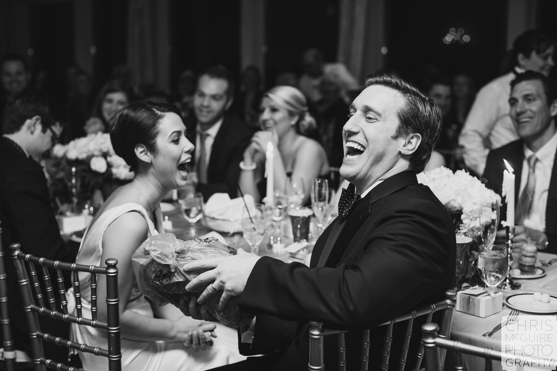 brida and groom laugh at wedding reception central illinois