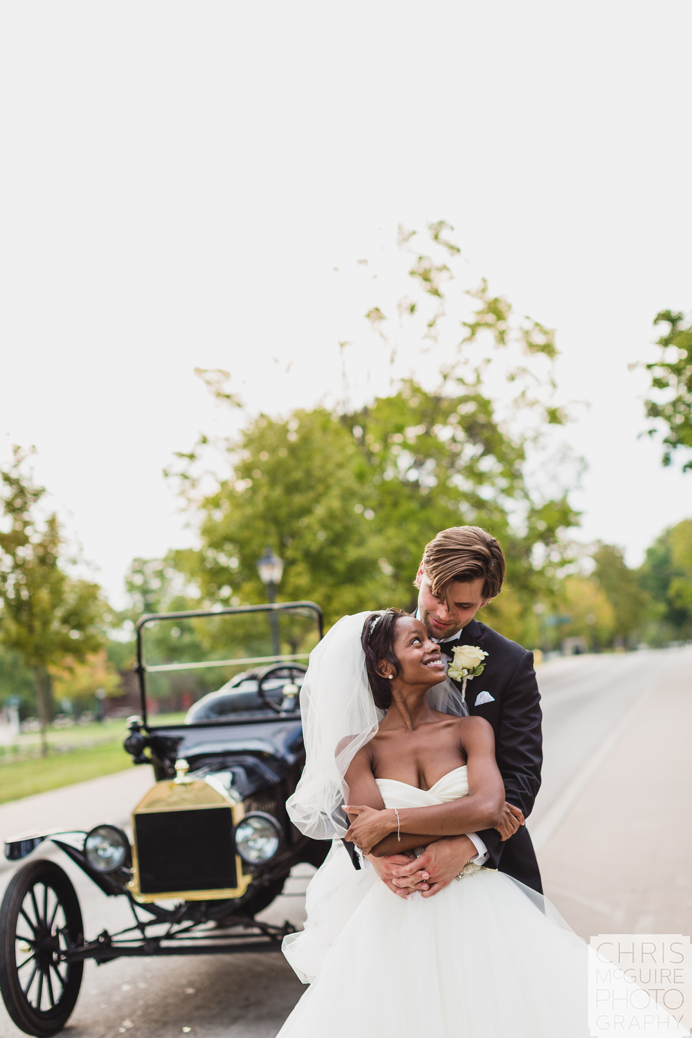 bride groom with model t