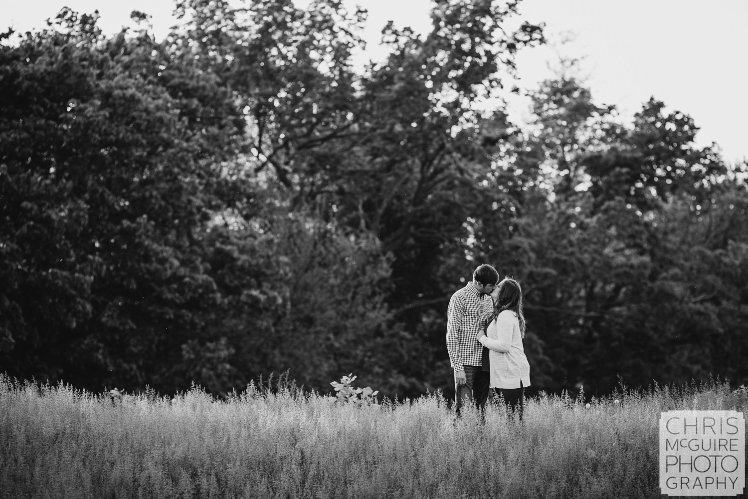 engaged couple kissing in grass central illinois