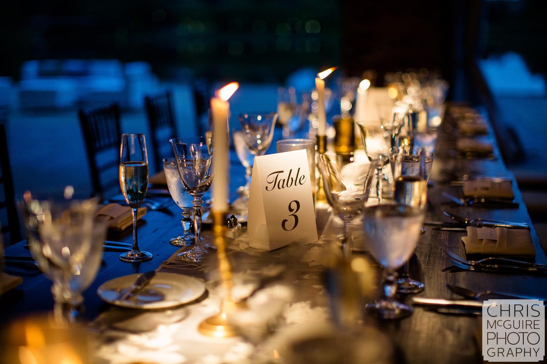 reception table at Chicago Botanic Gardens