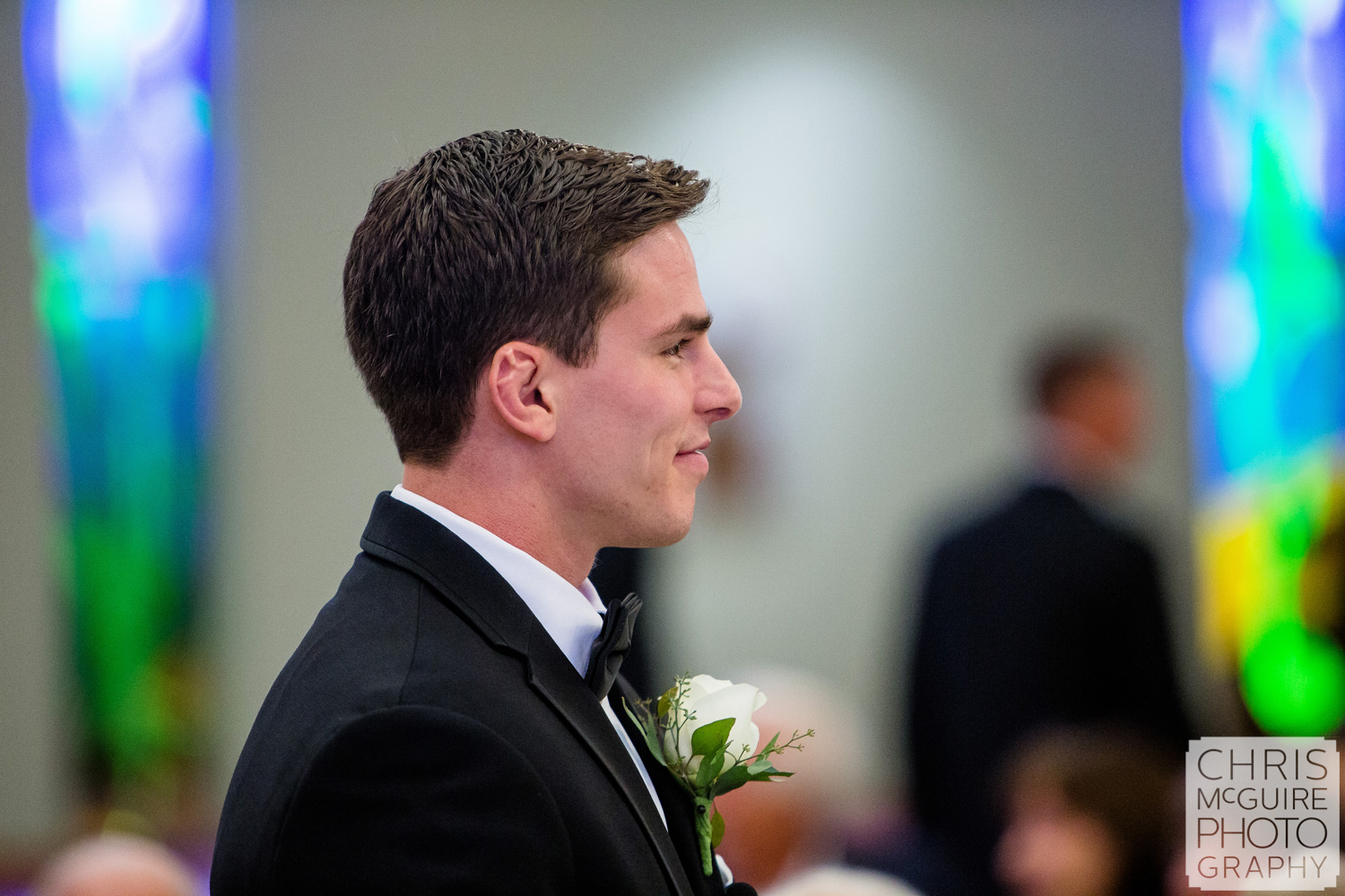 groom awaits his bride at Blessed Sacrament Morton