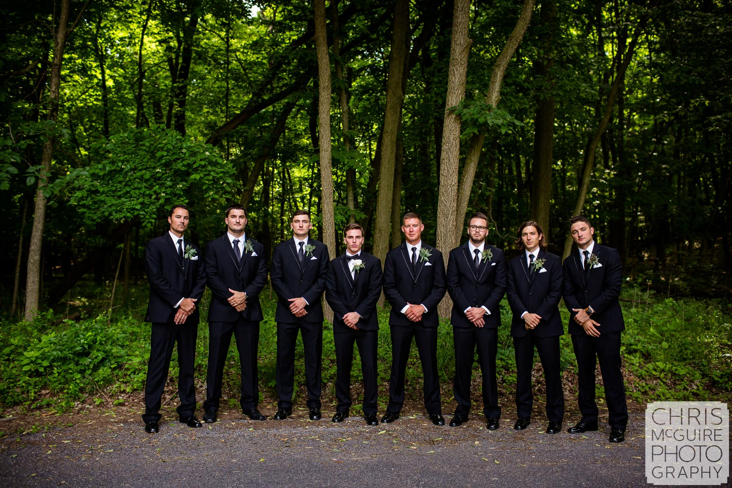 groom and groomsmen at Forest Park Nature Center
