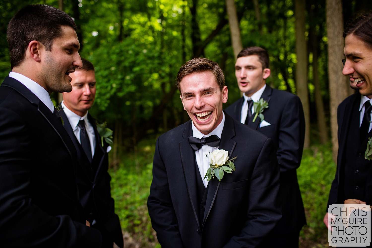 Peoria groom laughing